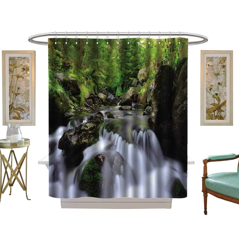 luvoluxhome Shower Curtains Fabric Mountain Creek in The National Park Sumava Czech Republic W69 x L84 Fabric Bathroom Set with Hooks by luvoluxhome