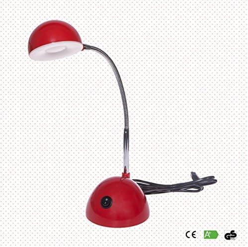 Emma è una lampada da tavolo lampada da tavolo rossa, a misura di bambino, con testina girevole e LED da 350 lumen, che porta abbastanza intensità