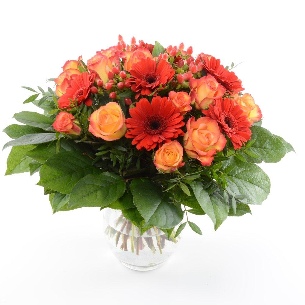 Blumenversand - Blumenstrauß - zum Geburtstag - Orange Fire! mit 15 rot-orangen Rosen - mit Gratis - Grußkarte zum Wunschtermin versenden