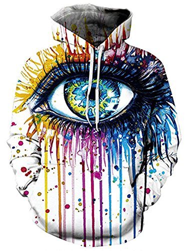 - Unisex 3D Print Colorful Eye Novelty Funny Long Sleeve Hip Hop Hoodie Sweatshirt