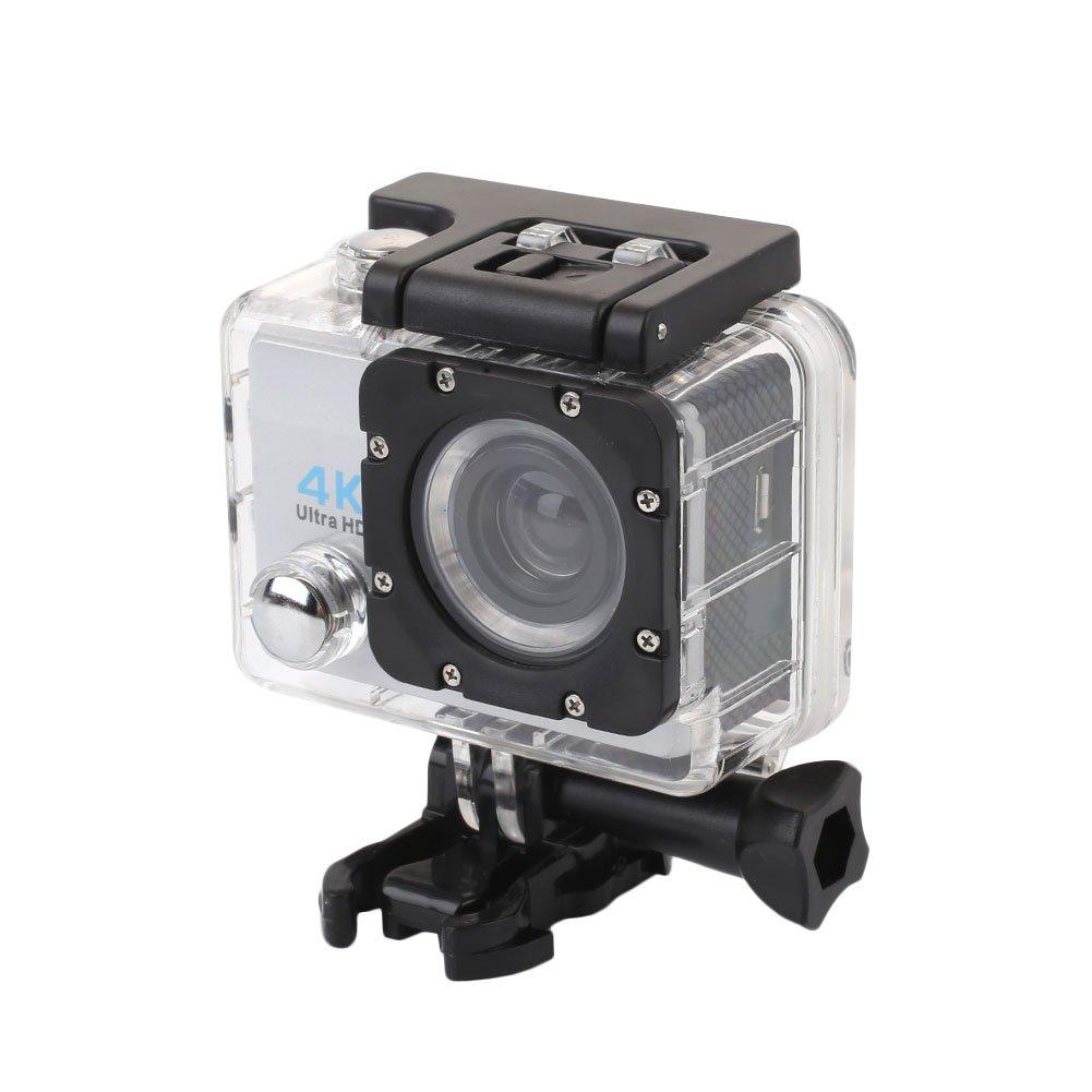 Hongfei (Plata) Cámara de acción, 4K Ultra HD Cámara Impermeable de Deporte Pantalla LCD de 2 Pulgadas 12MP 90º de ángulo Ancho