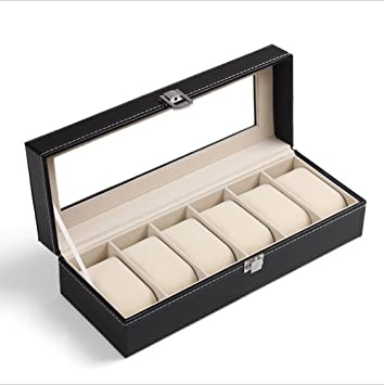 Dosige Caja Para Relojes Piel Sintética Caja Para Reloj Joyero( 6 compartimentos Negro): Amazon.es: Hogar