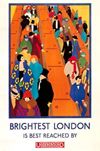Brightest London Best Reached by Underground Train Subway 1924 Fashion Vintage Illustration Travel Cool Wall Decor Art Print Poster 12x18