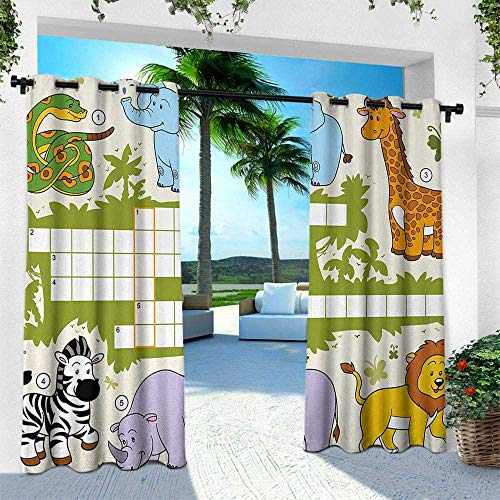 - Word Search Puzzle, for Patio Light Block Heat Out Water Proof Drape,Colorful Crossword Game for Children Wild Jungle Safari Animals Grid, W108 x L84 Inch, Multicolor