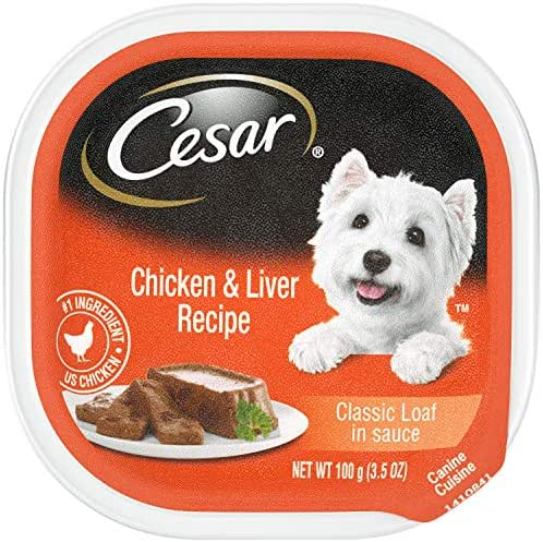 CESAR Soft Wet Dog Food Classic Loaf in Sauce Chicken & Liver Recipe, (24) 3.5 oz. Easy Peel Trays