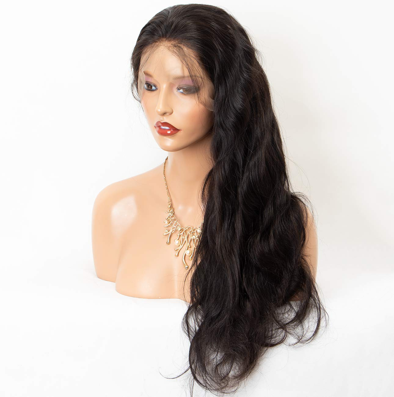 Chantiche Glueless Body Wave 360 Lace Wig with Natural Hairline and High Ponytail Brazilian Virgin 360 Lace Frontal Human Hair Wigs for Women 150% Extra Heavy Density 18inches Natural Color