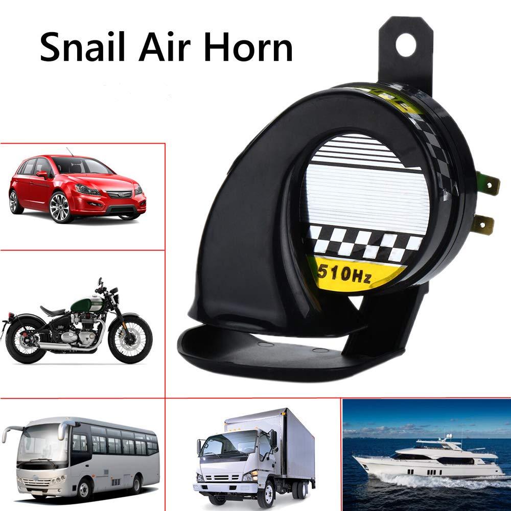 Black MASO Snail Air Horn 1 Pack 115DB 510Hz Siren Horn Speaker Waterproof for 12V Motorcycle Auto Car Scooter