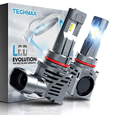 TECHMAX 9006 LED Headlight Bulbs,Small Design 60W 10000Lm 6500K Xenon White ZES Chips Extremely Bright HB4 Conversion Kit of 2: Automotive