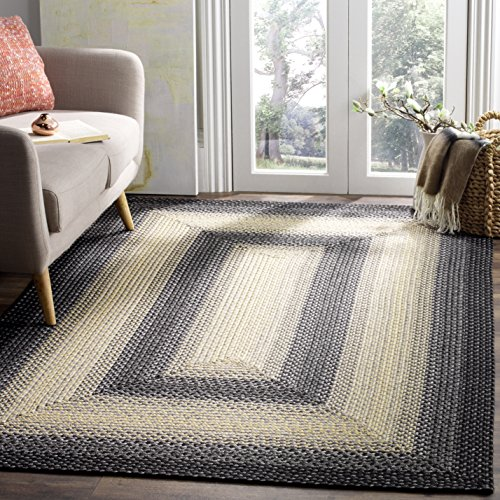 Safavieh Braided Collection BRD311A Hand Woven Black and Grey Area Rug