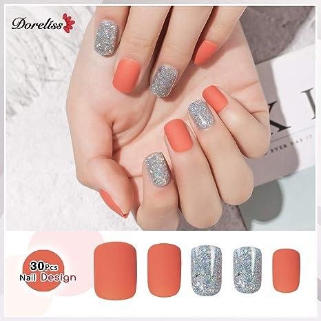 Doreliss uñas postizas 30 Pcs Mate Consejos corto uñas falsas de Pegamento adhesivo de doble cara Naranja
