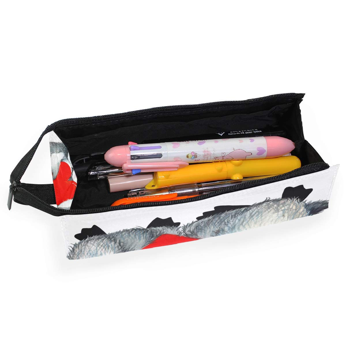 My Little Nest Eyeglass Sunglasses Holder Pouch Bag Cute Penguin Red Heart Multi Function Zipper Pen Case Pencil Bag Organizer