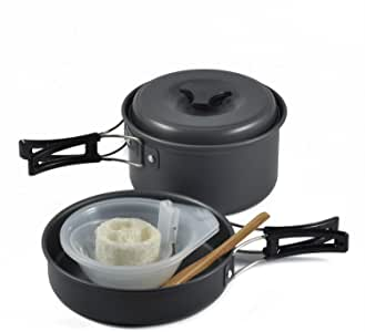 OuterEQ Camping Cookware Outdoor Mess Kit Lightweight Backpacking Cooking Set Picnic Pots and Pans