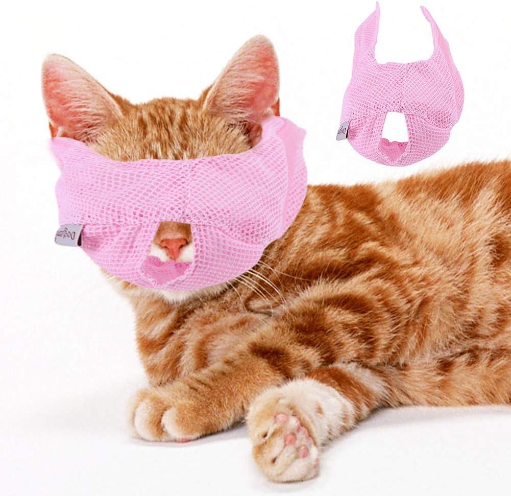 Haustier-Fellpflege-Hilfsmittel f/ür Bei/ßen Lecken und Miauen atmungsaktives Netz-Mund-Gesichts-Abdeckung HEEPDD Maulkorb f/ür Katzen