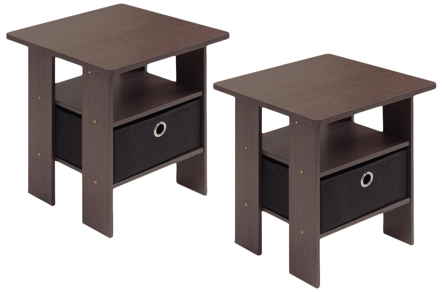 Furinno 2-11157DBR End Table Bedroom Night Stand, Petite, Dark Brown, Set of 2