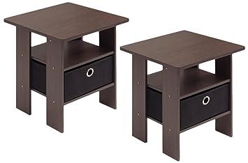 Amazon.com: Furinno 2-11157DBR End Table Bedroom Night Stand ...