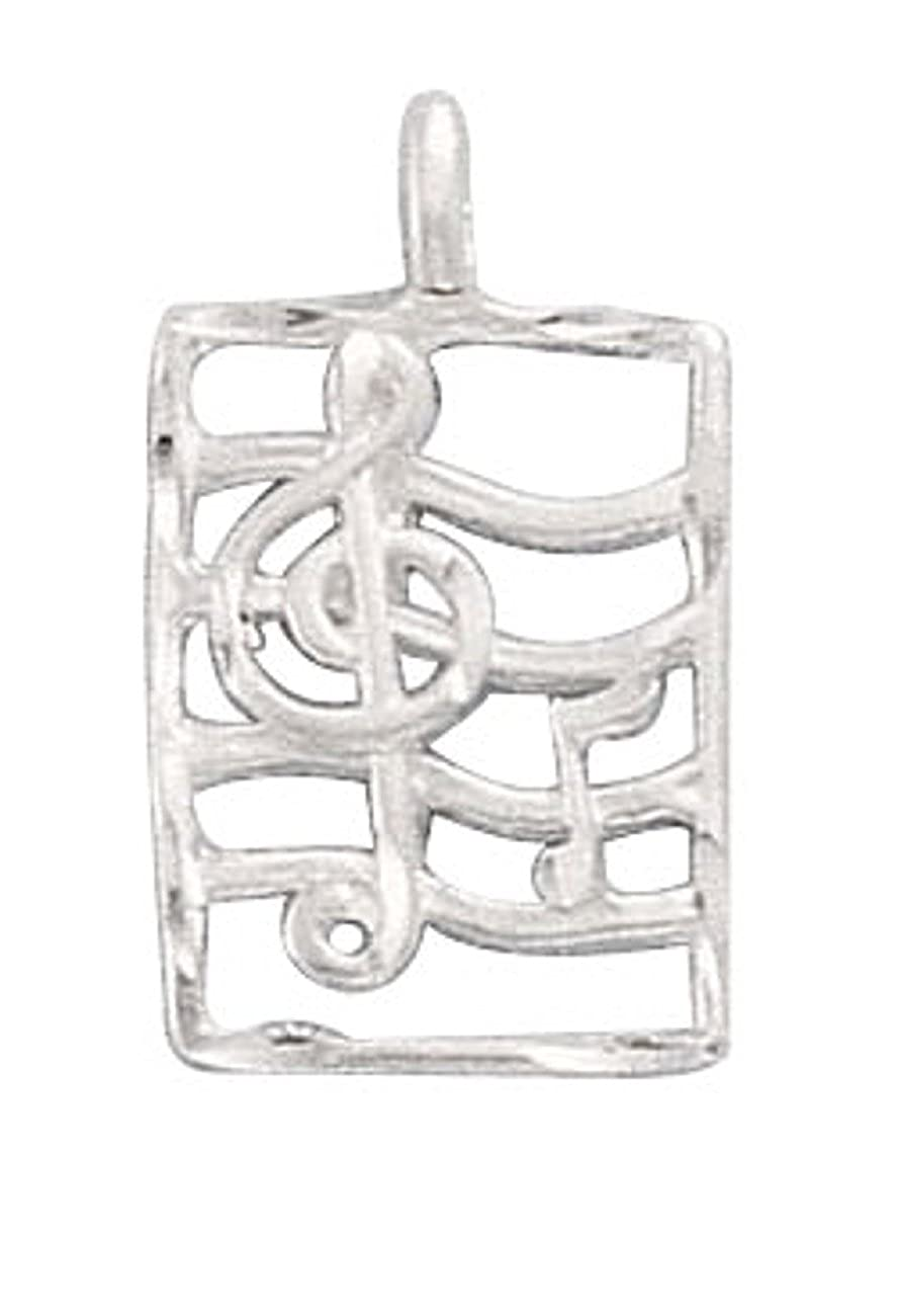 Sterling Silver Womens 1mm Box Chain Trebel Clef Notes On Music Staff Stave Pendant Necklace