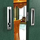 CCJH Sliding Barn Wood Door Lock and Handle one Set with Keys for Double Doors Hardware (Silver)