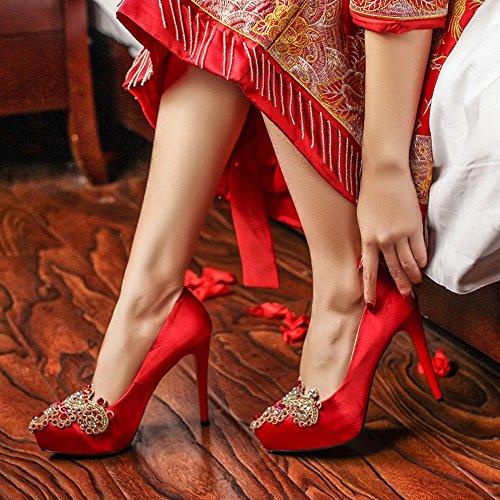 Rouge de Chaussures Mariage Fine Cristal Rouge Femme Hauts Chinois SED Imperméable Unique Pointues de Talons Chaussures Diamant l'eau avec Brodé Mariage à Chaussures de Mariée SIxqF