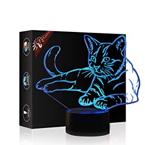 Christmas Gift Pet Cat 3D Illusion Birthday Present Beside Table Lamp, Gawell 7 Color Changing Touch Switch Decoration Night Lamp with Acrylic Flat & ABS Base & USB Cable Cat Lover Theme Toy