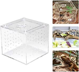 ViaGasaFamido Transparent Reptile Insect Viewing Box, Live Food Storage Acrylic Reptile Breeding Box for Spider Crickets Snails Hermit Crabs Tarantulas Geckos 3.9x3.9x3.5inch