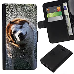 Sony Xperia M2 - Dibujo PU billetera de cuero Funda Case Caso de la piel de la bolsa protectora Para (Cool Wet Dog)