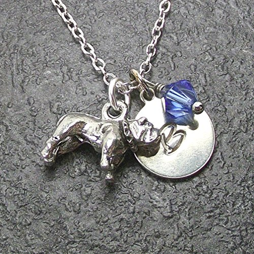 Personalized Bulldog Necklace with Swarovski Crystal and Custom Alphabet Initial Charm Bulldogs Round Crystal