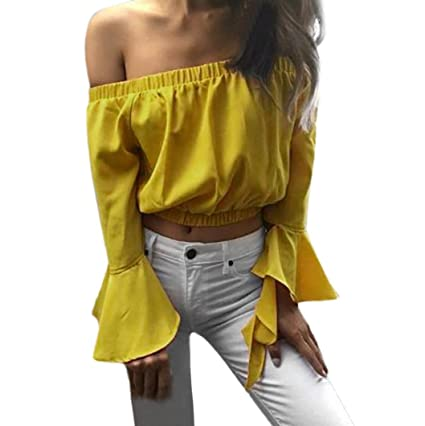efd0c43671163 Women s Sexy Slim Fit Stretchy Off Shoulder Long Sleeve Blouse Cropped Tops  Shirt (S