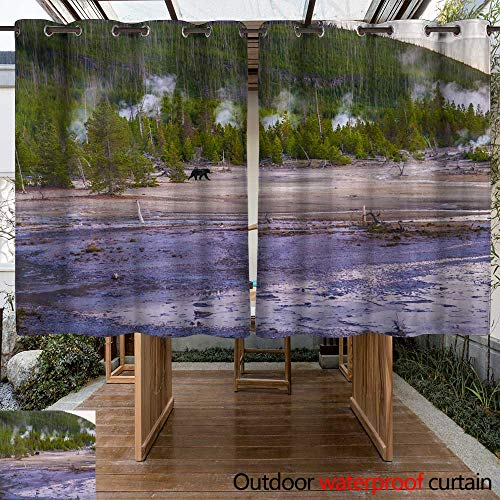 WinfreyDecor Home Patio Outdoor Curtain Bear in Norris Geyser Basin at Sunset W55 x L72 ()