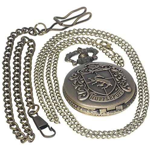 se Logo Harry Potter Steampunk Black Pocket Watch Necklace Antique Men Women Pocket Watches Chain Vintage Quartz Clock Fob Watch 1 PC Necklace 1 PC Clip Key Rib Chain ()