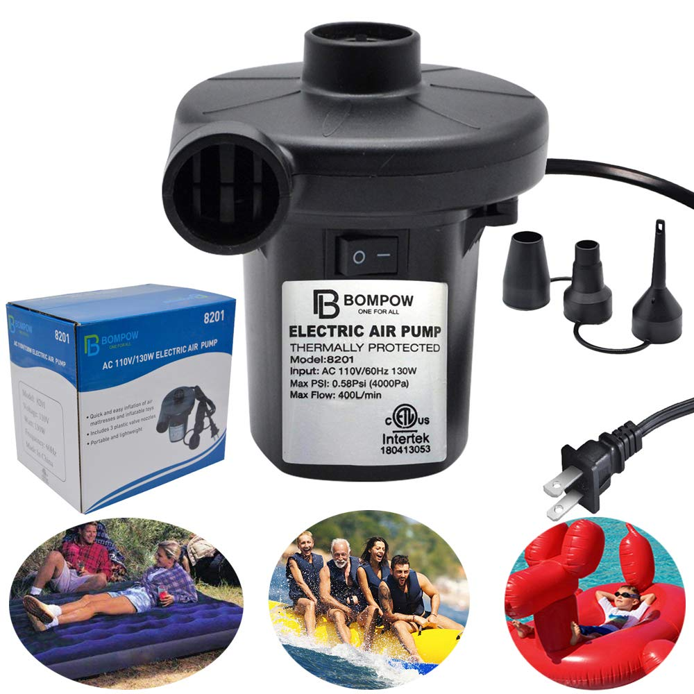 Electric Pump for Inflatables Air Mattress Pump Air Bed Pool Toy Raft Boat Quick Electric Air Pump Black (AC Pump(130W))