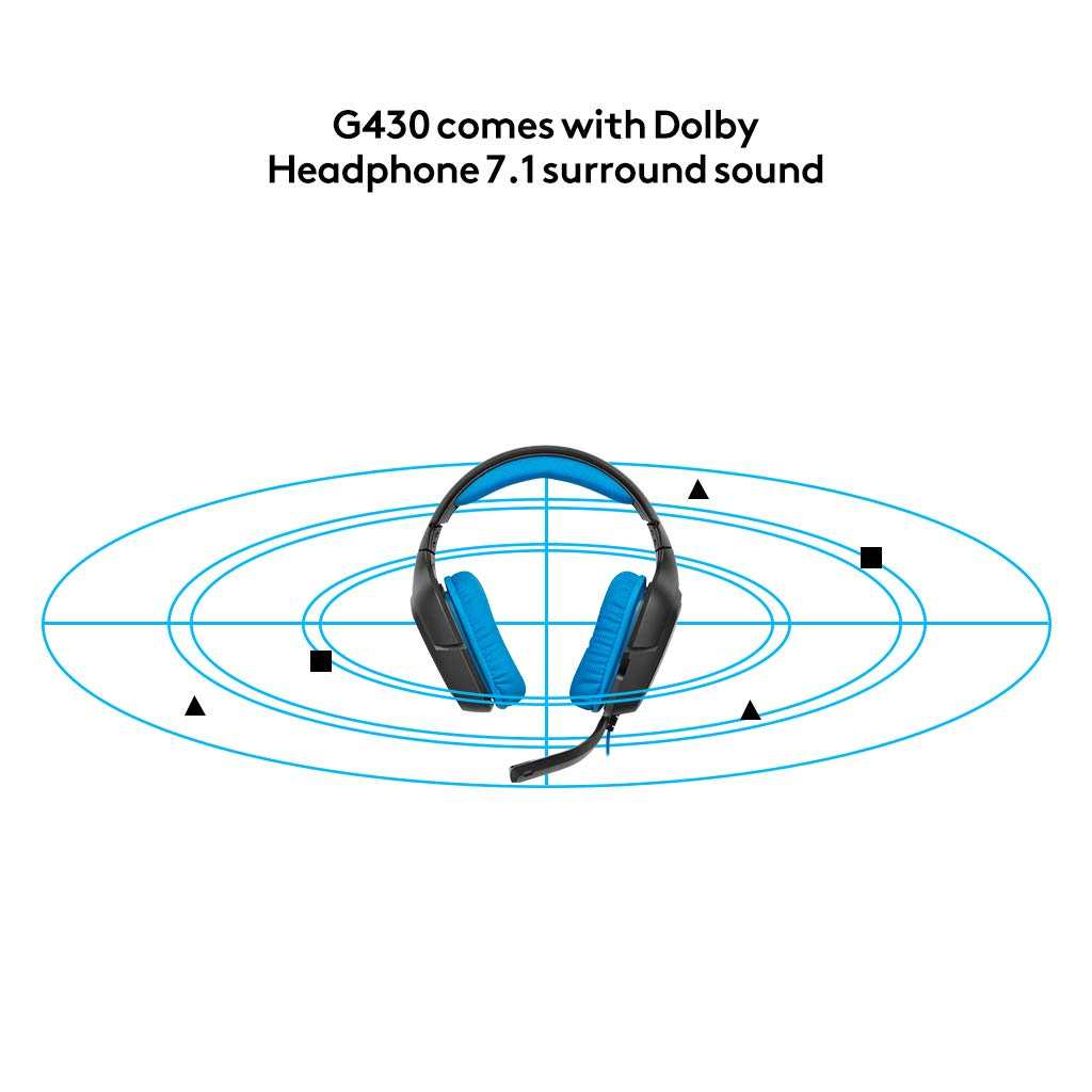 Logitech G430 Gaming Headset for PC Gaming with 7 1 Dolby Surround,  Black/Blue