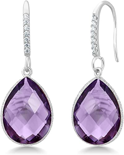 Dangle Earrings 98 Unusual Solid 925 Sterling Silver Purple Amethyst Drop