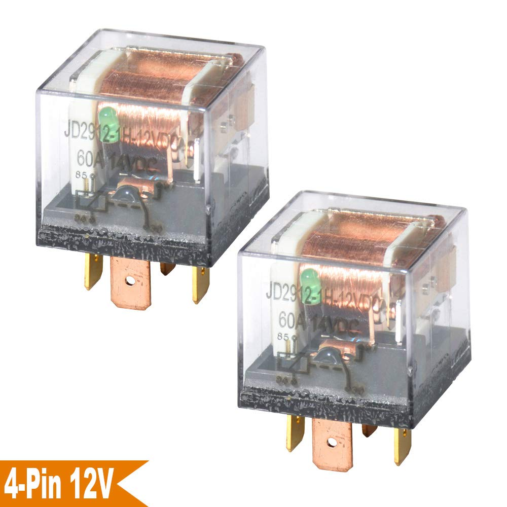 Ehdis® DC 12V 60A 1NO SPST 4 Pin Relay Car Heavy Duty Split Charge Waterproof Transparent Case, Pack of 2