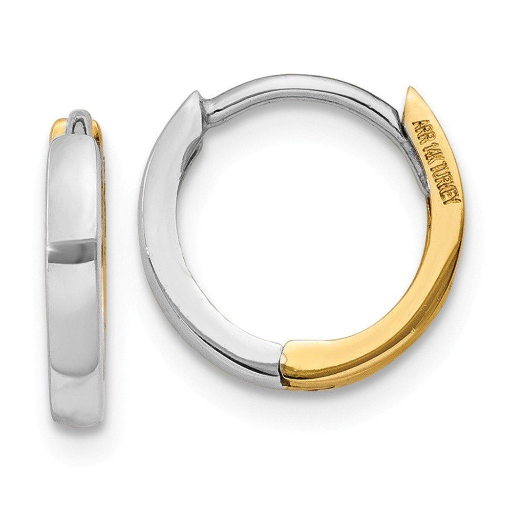 Mia Diamonds 14k Gold Two-tone 1.75mm Hinged Hoop Earrings