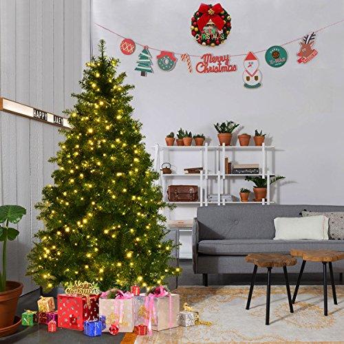Goplus Pre-Lit Christmas Tree Artificial PVC Spruce Hinged w/ 560 LED Lights & Solid Metal Legs (6 Ft)