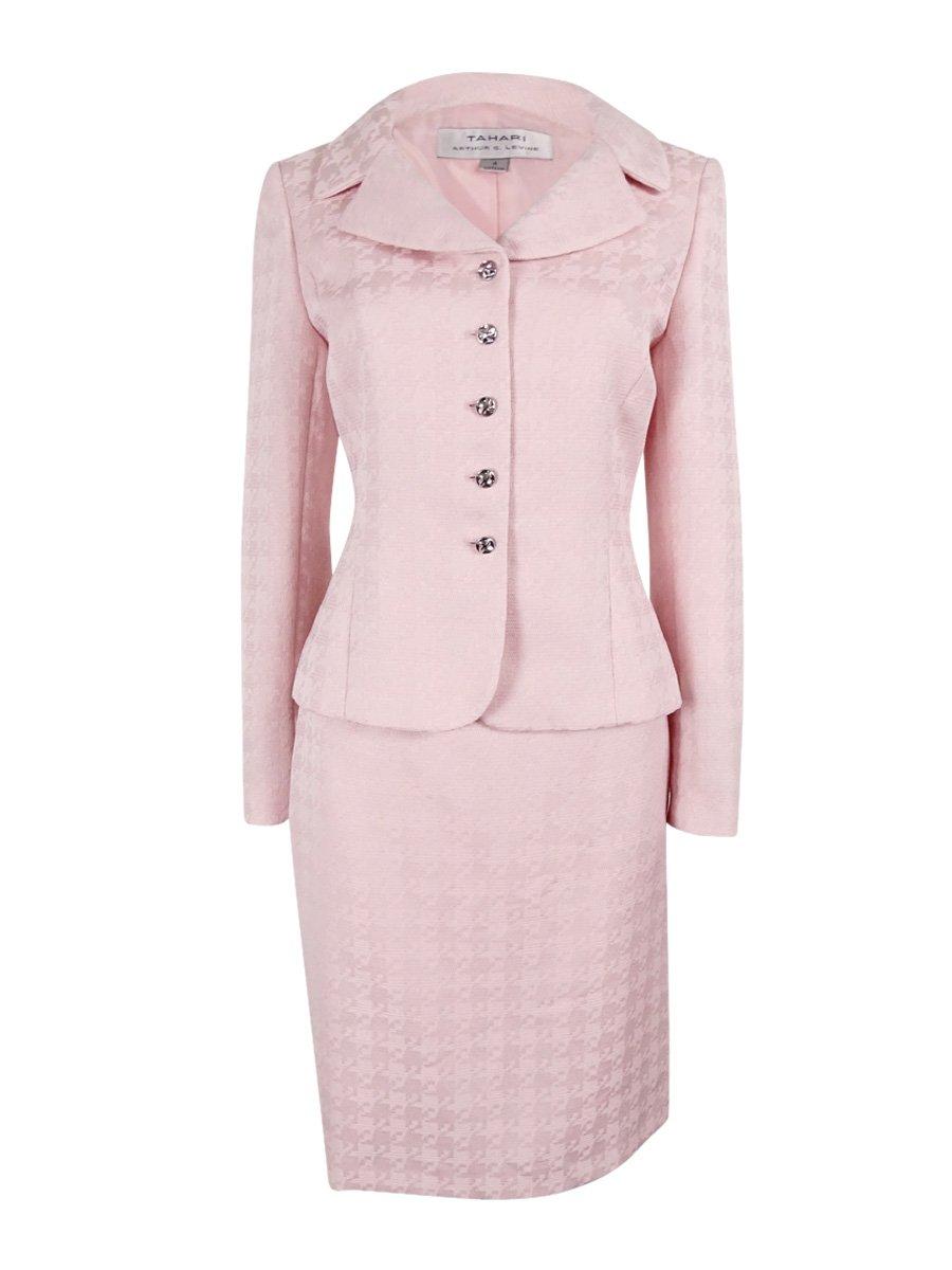 Tahari ASL Women's Houndstooth Jacquard Skirt Suit, Blush Pink, 18