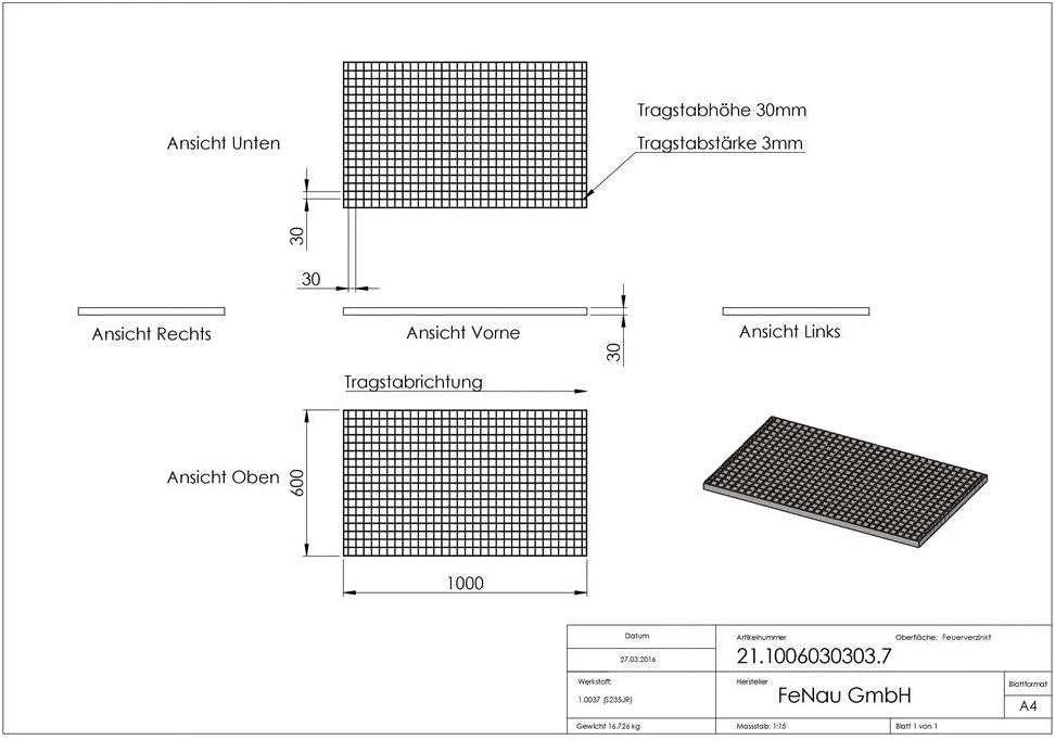 - Espesor del material: 3 mm : 11,76 kN MW: 30//30 mm m/² Carga sobre ruedas: 2,29 kN//Carga superficial Rejillas industriales Dimensiones: 1000 x 500 x 30 mm Fenau