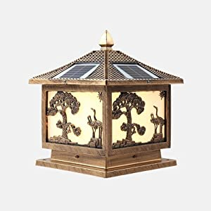 Modeen Antique LED Solar Street Light Night Light On Courtyard Porch Energy Saving Solar Pillar Lamp Waterproof IP55 Square Doorpost Column Lights (Color : Crane, Size : 4640cm)