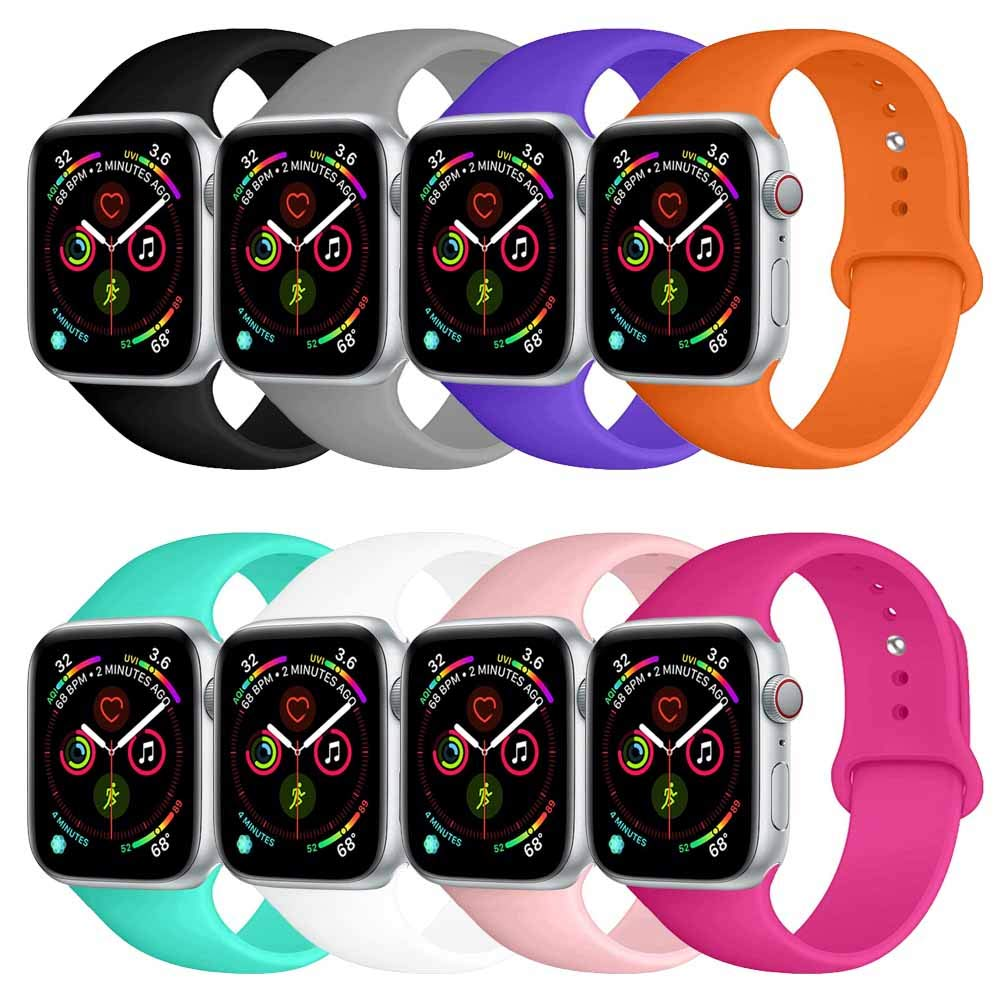 BOTOMALL Compatible with Iwatch Band 38mm 40mm 42mm 44mm Classic Silicone Sport Replacement Strap Bracelet for Iwatch All Models Series 4 Series 3 Series 2 Series 1 (a-8Pack,40/38mm S/M) by BOTOMALL