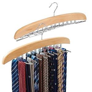 EZOWare [2-Pack] Belt Hangers, Adjustable 24 Tie Belt Scarf Racks Holder Hook Hanger for Closet Organizer Storage - Beige