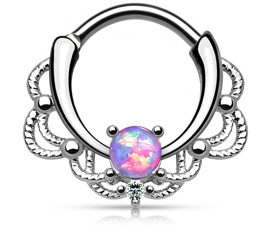 16g Synthetic Purple Opal Surgical Steel Filigree Lacey Detail Septum Hoop Clicker Ring