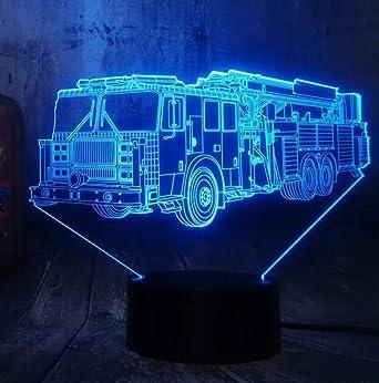 Fire Engine Car 3D LED 7 Color Linterna Luz de noche Dormitorio ...