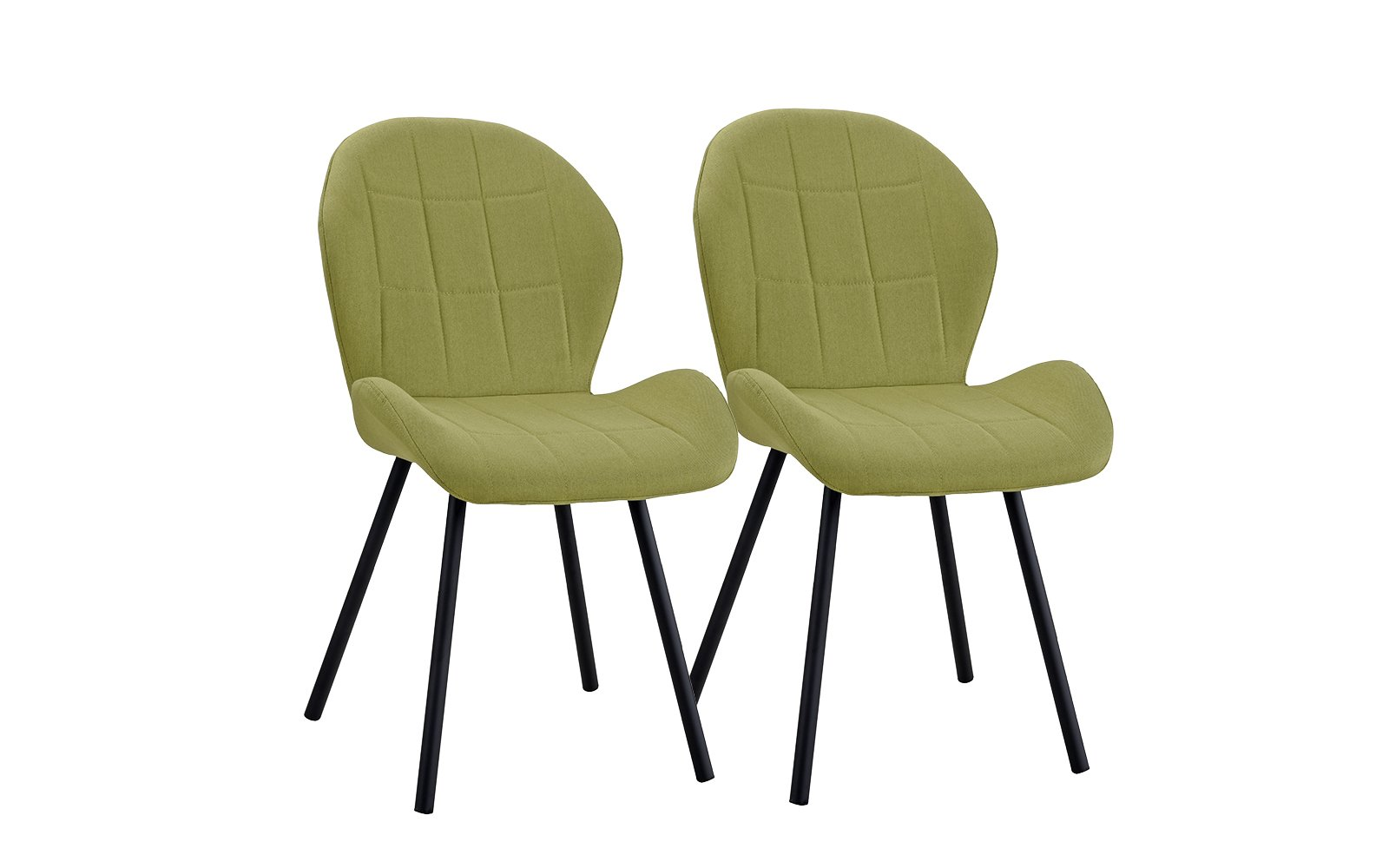 Upholstered Set of 2 Dining Chairs, 2 Piece Kitchen Chairs (Green)