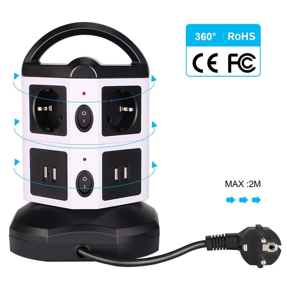6 Prises 2500W//10A Multiprise Parafoudre et Surtension 5 V // 2.1 A avec Cordon de 2m Tour Multiprise Multiprise USB Verticale avec Interrupteur pour iPhone iPad PSP et 4 Ports de Charge USB