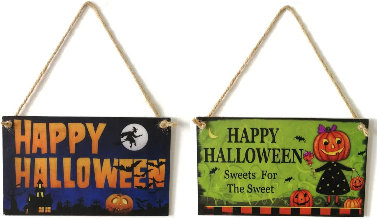 Tinsow 2 Pcs Indoor Outdoor Wooden Happy Halloween Pumpkin Person Pattern Hanging Board Door Decor and Wall Signs Haunted House Decor for Home School Office Party Decoration