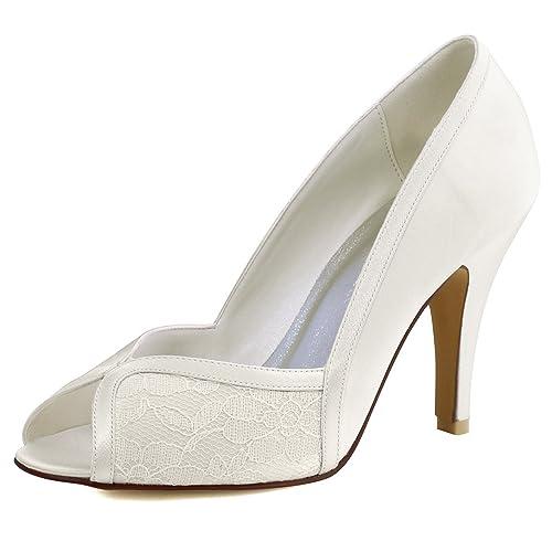 0a803ca4521 Elegantpark HP1617 Women Peep Toe High Heel Pumps Satin Lace Wedding Court  Shoes Ivory UK 2