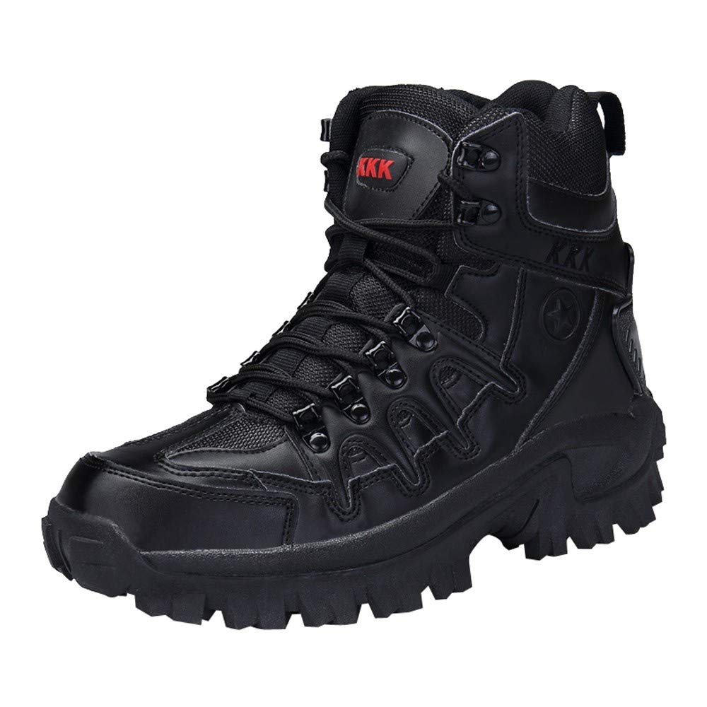 Fullfun Winter/Autumn Men Military Leather Boots Special Force Tactical Desert Combat Boats Outdoor Shoes Snow Boots (8, Black)