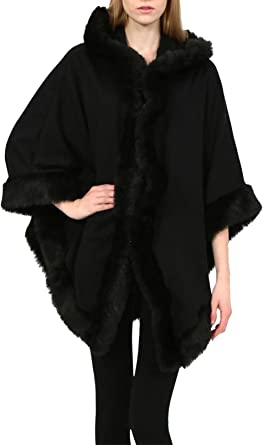 New Women  Trim Hooded Wool Lana Cape Wrap Poncho Coat Jacket Italian Faux Fur
