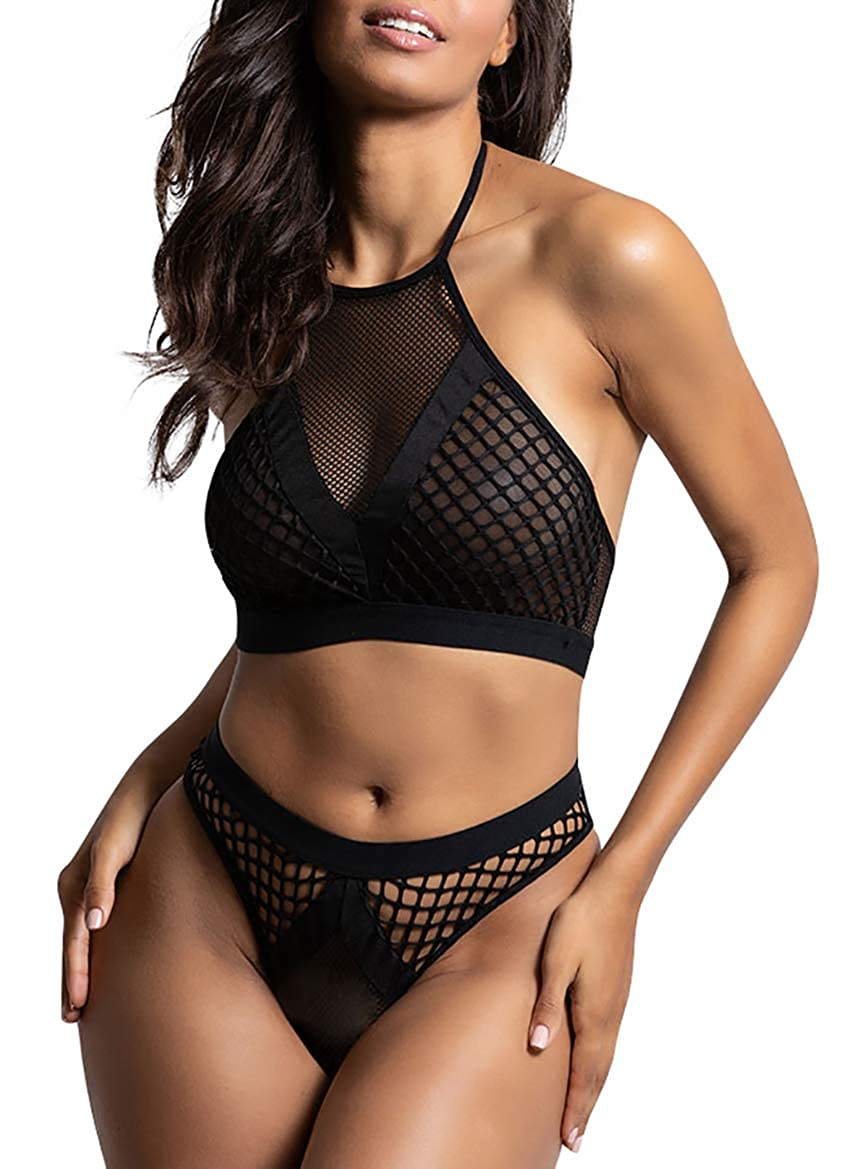21da4c6880 Yandy women high mesh neckline fishnet bralette set matching cheeky panty  black clothing jpg 850x1169 Fishnet