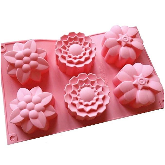 nicebuty (TM) molde 6 flores de silicona, para magdalenas, pastel de chocolate o molde de jabones: Amazon.es: Electrónica